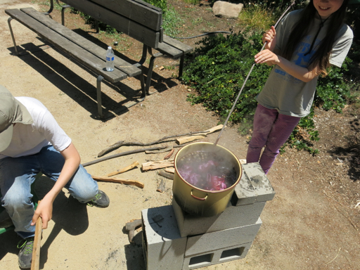 Boiling natural dye on the rocket stove